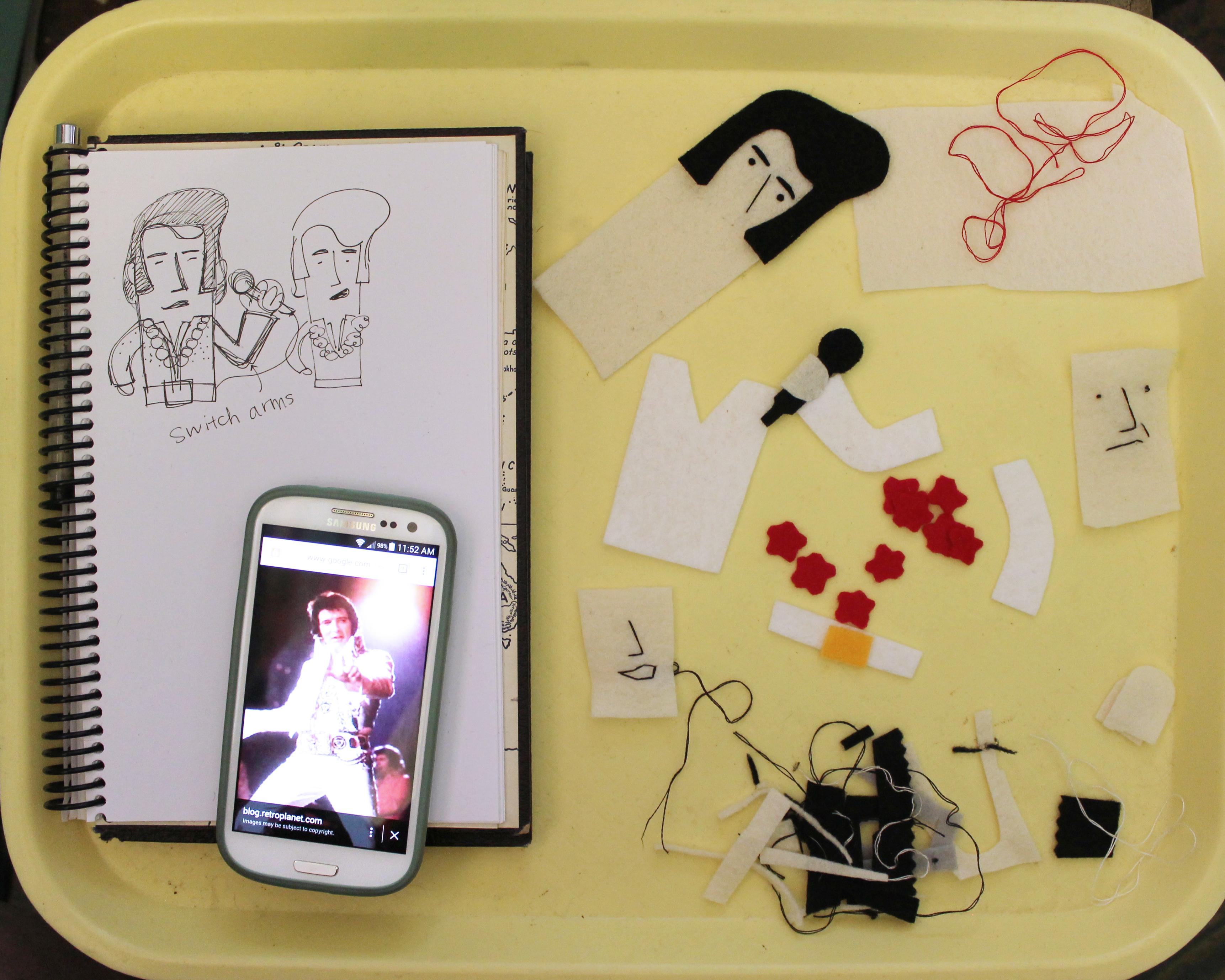 Elvis Finger Puppet detail